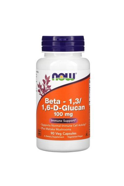 Бета Глюкан (Beta 1,3/1,6-D- Glucan NOW  Foods), 100мг, 90 вег. капс.
