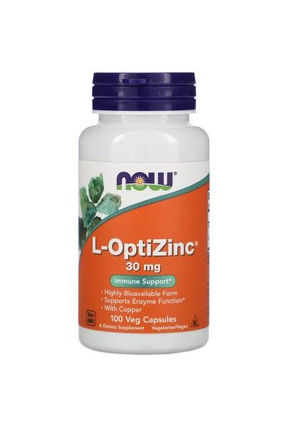 L-OptiZinc (L-ОптиЦинк) от NOW, 30мг, 100 вег.капс.