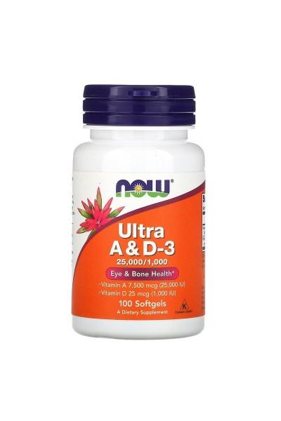 Витамины A & D 25000/1000 от NOW  100 капс.