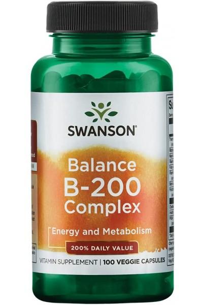Витаминный комплекс Balance B-200 Complex Swanson (витамины B) - 100 вег. капсул