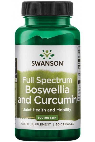Boswellia and Curcumin (Босвеллия и куркумин) Swanson, 300 мг,  60 капсул