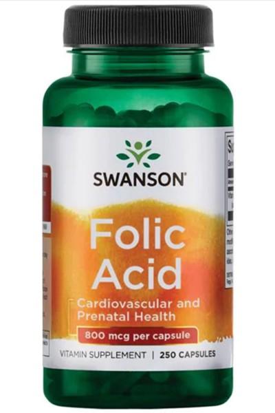 Фолиевая кислота (Folic Acid) 800 mcg  Swanson, 250капсул