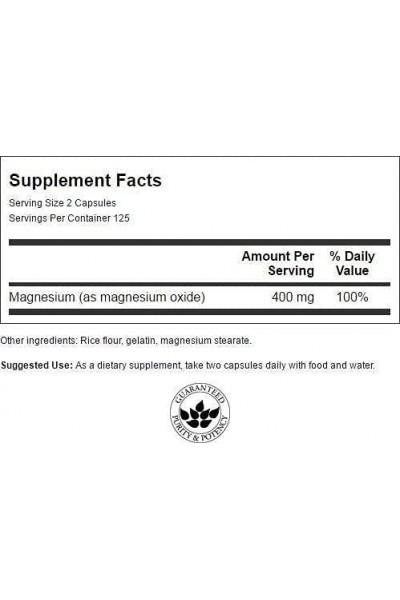 Магний Оксид (Magnesium Oxide) от Swanson, 250капс.