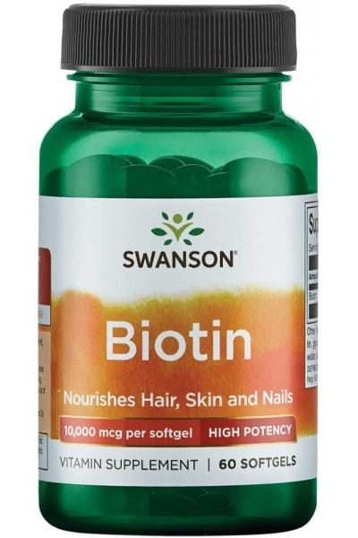 Biotin 10000 Swanson - 60 капсул