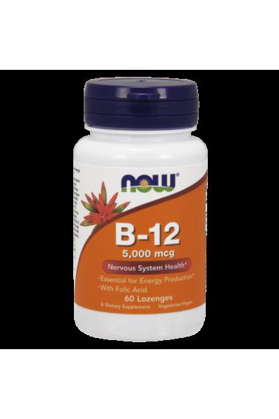 NOW Foods Витамин B12 5000 мкг + Folic Acid (60 капс)