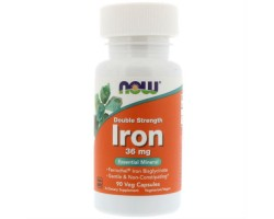 Iron Double Strength 36 mg NOW (Бисглицинат Железа), 90 veg caps