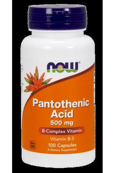 Пантотеновая кислота - Pantothenic Acid 500 mg от NOW ( 100 caps)
