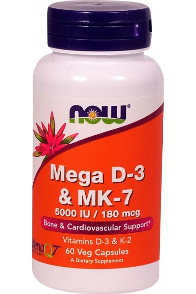 Mega D3 и MK-7, 180 мкг от Now Foods (60 caps)