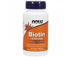 BIOTIN 5000 МКГ ОТ NOW Foods (60/120 капс)
