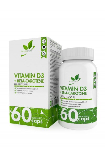 Витамин Д3 + Бета каротин (Vitamin D3 & Beta Carotene), 60 капсул