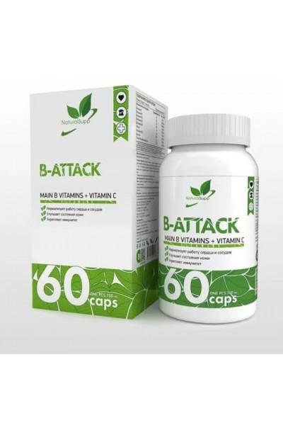 Витаминный комплекс B-Attack NaturalSupp (витамины B + С) - 60 капсул