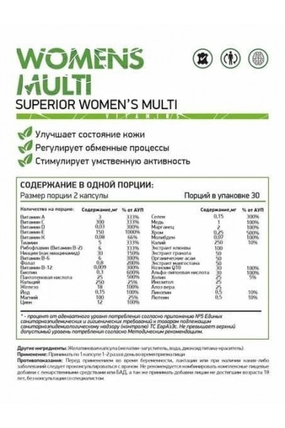 Витаминно-минеральный комплекс Womens Multi NaturalSupp (60 капсул)